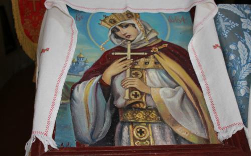 Икона святой Ольги, написанная наместником Алипием